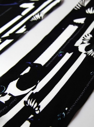 Young British Designers: Magpie Black Print Classic Skinny  by Rockins