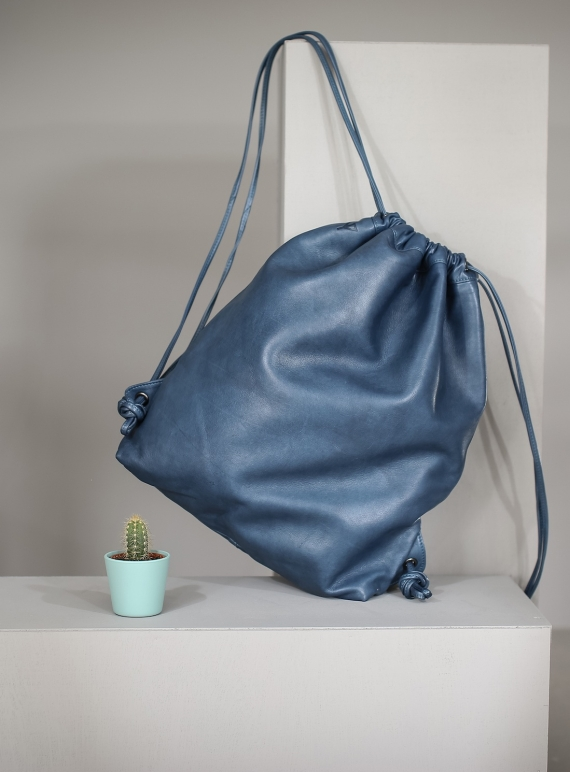 Young British Designers: MAVIS Drawstring Bag in Petrol by Taylor Yates
