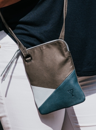Young British Designers: DORIS Cross-Body in Storm/Petrol/Ice  by Taylor Yates