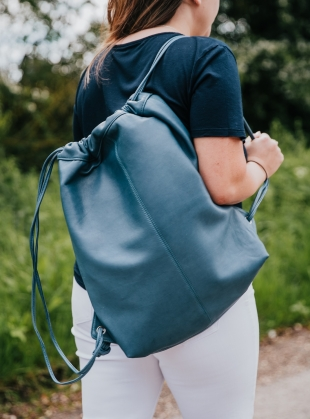MAVIS Drawstring Bag in Petrol by Taylor Yates