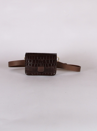 MINI TAB BELT BAG in Choc Embossed Croc by Kate Sheridan