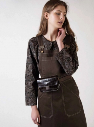 Young British Designers: MINI TAB BELT BAG in Choc Embossed Croc by Kate Sheridan