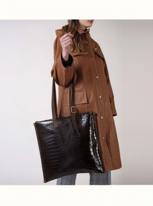 Young British Designers: FRAME TOTE. Choc Embossed Croc by Kate Sheridan