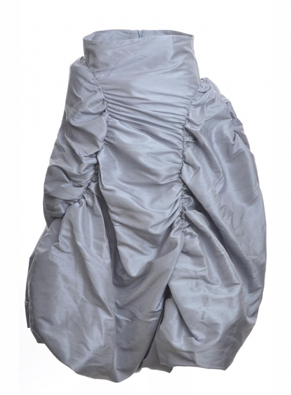 Young British Designers: RUCHED SILK SKIRT. Silver Grey  by Natalie B Coleman