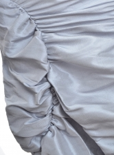 RUCHED SILK SKIRT. Silver Grey