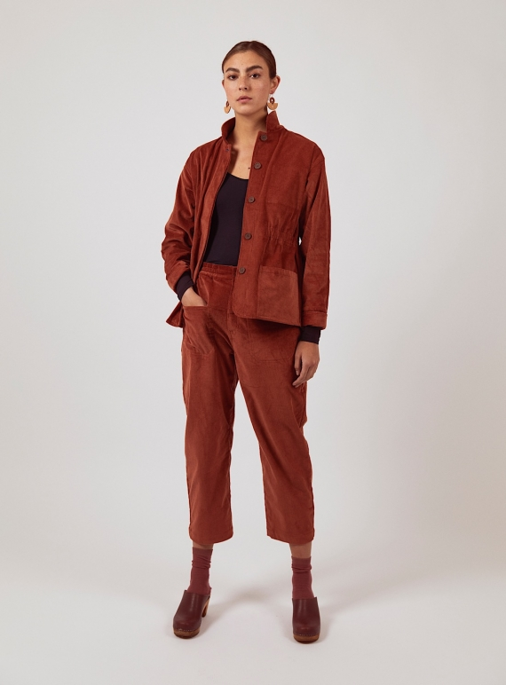 Young British Designers: Brick Red LEAH TROUSERS by SIDELINE