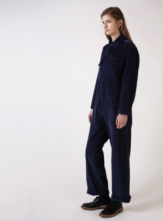 Young British Designers: BOILER SUIT in Jumbo Navy Cord - last one (M) by Kate Sheridan