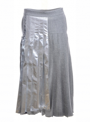 Young British Designers: ASYMMETRIC PLEATED SKIRT WITH FOIL - last one(16) by Teija Eilola