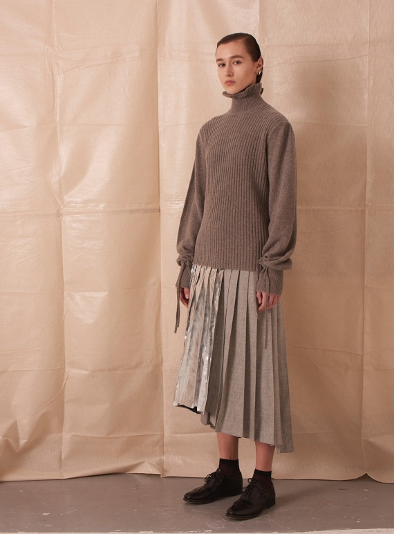 Young British Designers: ASYMMETRIC PLEATED SKIRT WITH FOIL by Teija Eilola