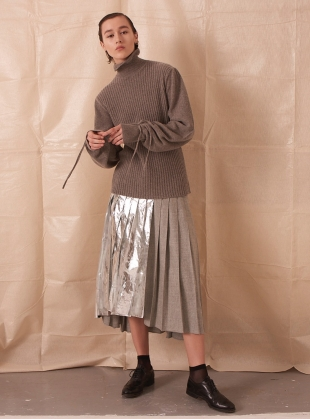 ASYMMETRIC PLEATED SKIRT WITH FOIL - Last one (16) by Teija Eilola