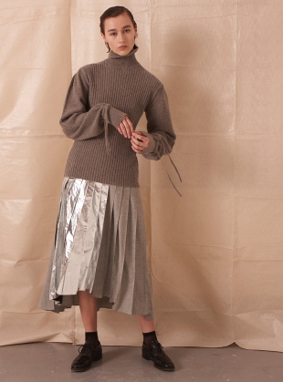 ASYMMETRIC PLEATED SKIRT WITH FOIL by Teija Eilola