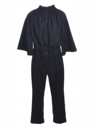 BLACK JUMPSUIT WITH SMOCKED NECKLINE  by Teija Eilola