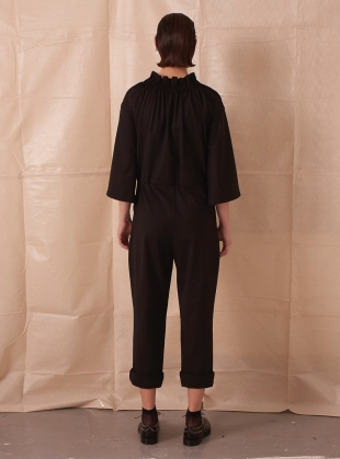 Young British Designers: BLACK JUMPSUIT WITH SMOCKED NECKLINE  by Teija Eilola
