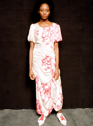 Young British Designers: SILK JERSEY RUCHED DRESS. Horned Uterus Print - Last one (10) by Natalie B Coleman