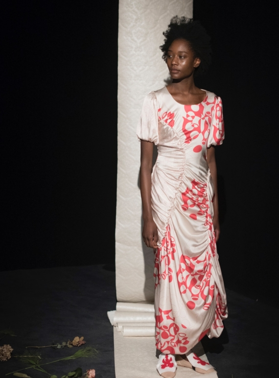 Young British Designers: SILK JERSEY RUCHED DRESS. Horned Uterus Print by Natalie B Coleman