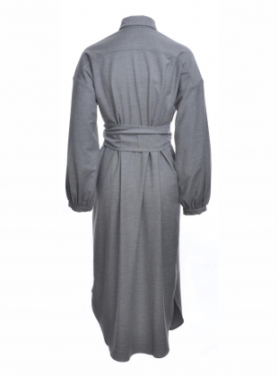 Young British Designers: COLD LIGHT GREY WOOL SHIRT DRESS by Kelly Love
