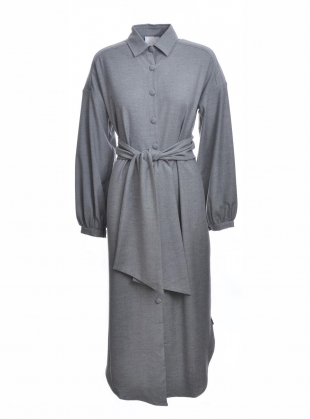 COLD LIGHT GREY WOOL SHIRT DRESS by Kelly Love