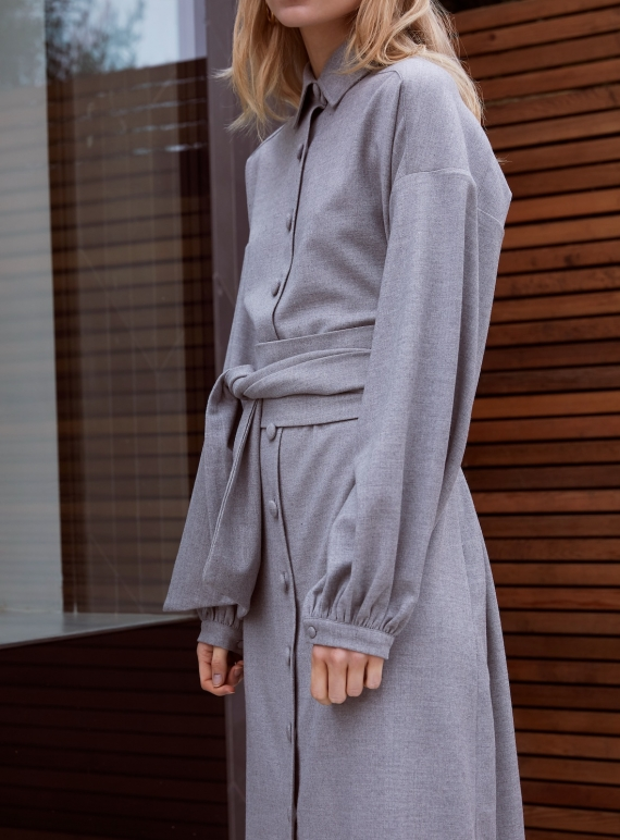 Young British Designers: COLD LIGHT GREY WOOL SHIRT DRESS - Last one (8) by Kelly Love