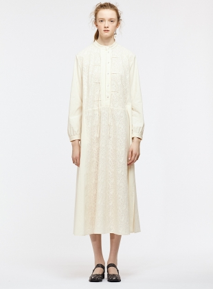 Cotton & Lace Cream Shirt Dress by Renli Su