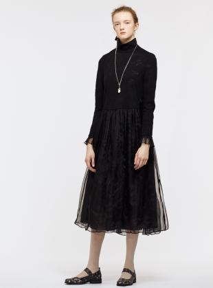 Long Black Wool & Tulle Dress by Renli Su