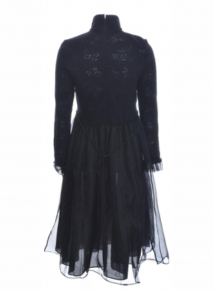 Young British Designers: Long Black Wool & Tulle Dress - Last one (S) by Renli Su
