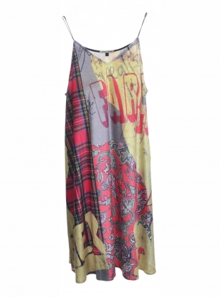 VELVET PATCHWORK SLIP DRESS by Simeon Farrar