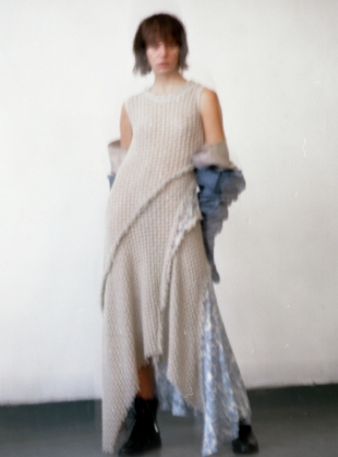 Young British Designers: Sleeveless Asymmetric Dress in Mouse by WEN PAN