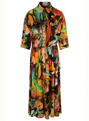 THE ESCAPIST SHIRT DRESS in Plasticine Print - Last one (S) by Klements