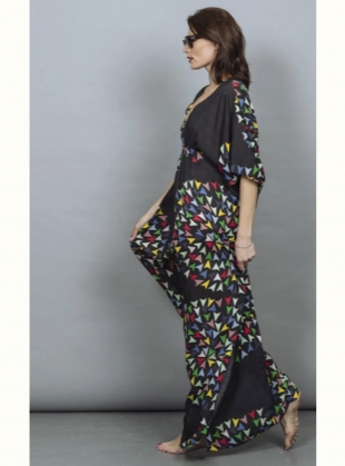 Young British Designers: SALINA KAFTAN DRESS. Skyranger Black - Sold out by Tallulah & Hope