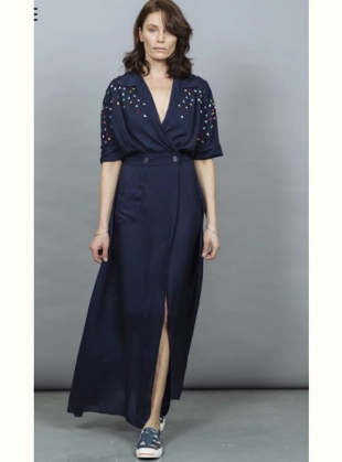SOPHIE DRESS. Navy Embroidered by Tallulah & Hope