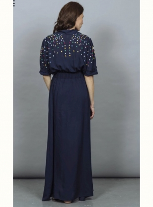 Young British Designers: SOPHIE DRESS. Navy Embroidered - Sold out by Tallulah & Hope