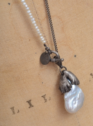 Young British Designers: Long Silver Pearl Pendant - Last one by Renli Su