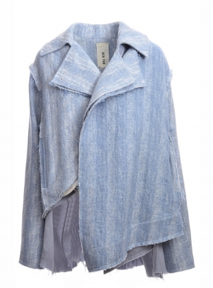Azure Blue Sleeve Asymmetric Jacket by WEN PAN