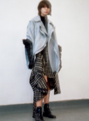 Young British Designers: Azure Blue Sleeve Asymmetric Jacket by WEN PAN