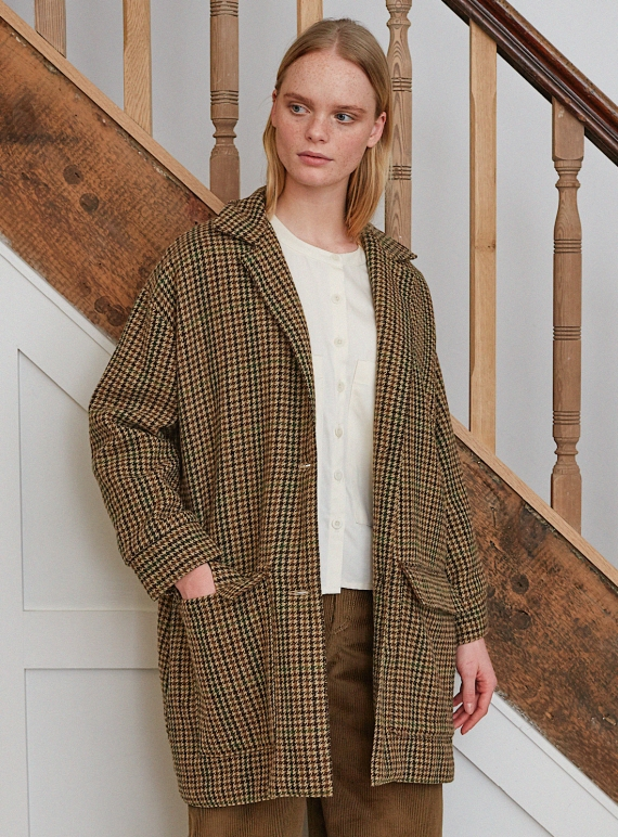 Young British Designers: JUNE-ANNE COAT in Multi Check - Last one (s) by Beaumont Organic