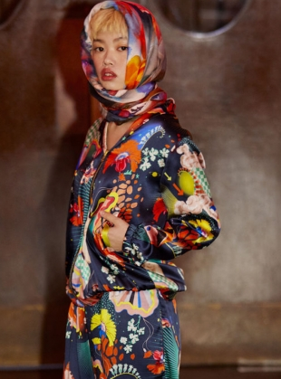 Young British Designers: PENNY REVERSIBLE BOMBER in Lucid & Abandoned Village Print by Klements