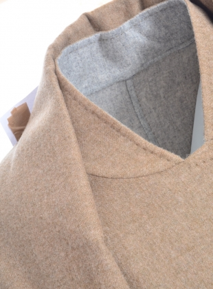 Young British Designers: REVERSIBLE WOOL COAT with LARGE SHAWL COLLAR by Teija Eilola