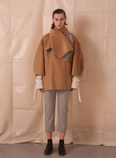 REVERSIBLE WOOL COAT with LARGE SHAWL COLLAR