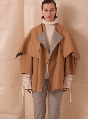 REVERSIBLE WOOL COAT with LARGE SHAWL COLLAR by Teija Eilola