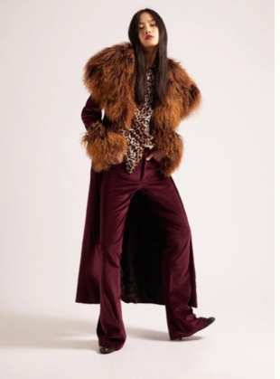 Wine Velvet  & Shearling Coat by Rockins