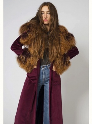 Wine Velvet  & Shearling Coat - Last one (S) by Rockins