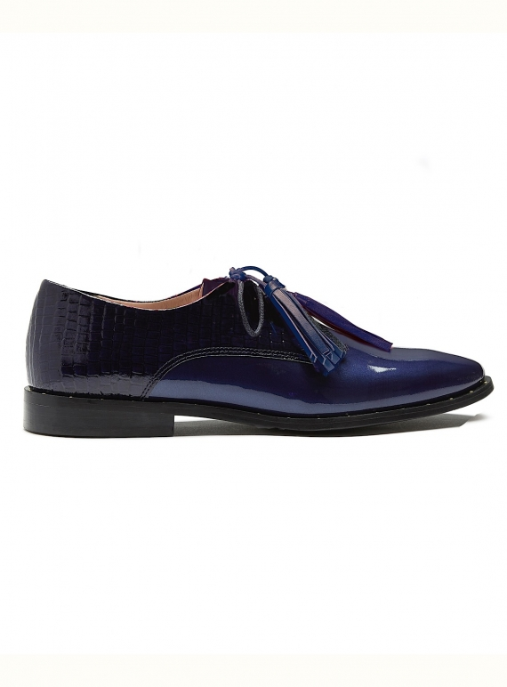 Young British Designers: STUD MUFFIN. Navy Patent Brogue - Last pair (36) by Rogue Matilda