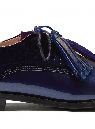 Young British Designers: STUD MUFFIN. Navy Patent Brogue by Rogue Matilda