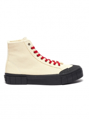 Young British Designers: BAGGER 2 High Top- Natural & Black - Last Pair (3) by Good News
