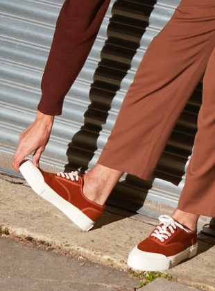 Young British Designers: SOFTBALL 2 TRAINER. 70's TAN by Good News