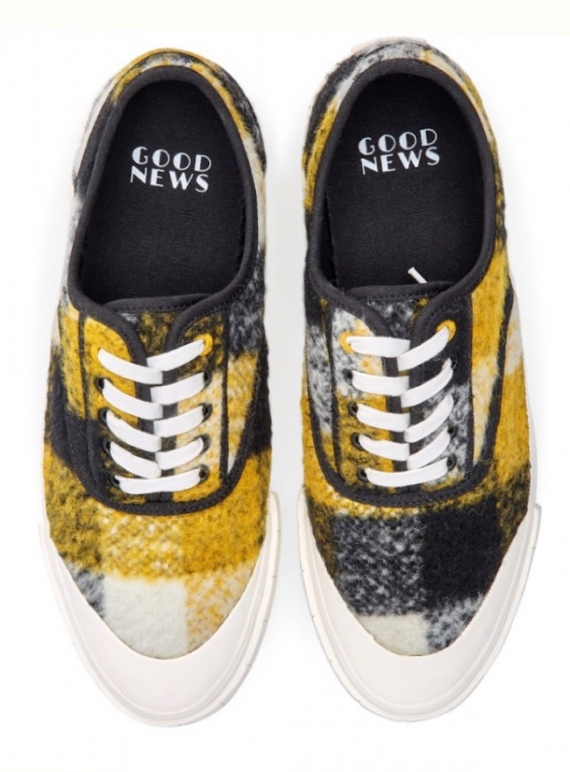 Young British Designers: SOFTBALL 2 TRAINER. YELLOW CHECK by Good News