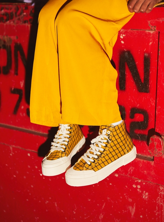 Young British Designers: SOFTBALL 2 High Top. MUSTARD CHECK by Good News