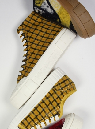 Young British Designers: SOFTBALL 2 High Top. MUSTARD CHECK - Last Pair (3) by Good News