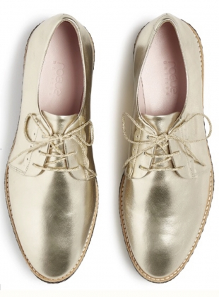 Young British Designers: SKY HIGH Brogue. Gold  by Rogue Matilda