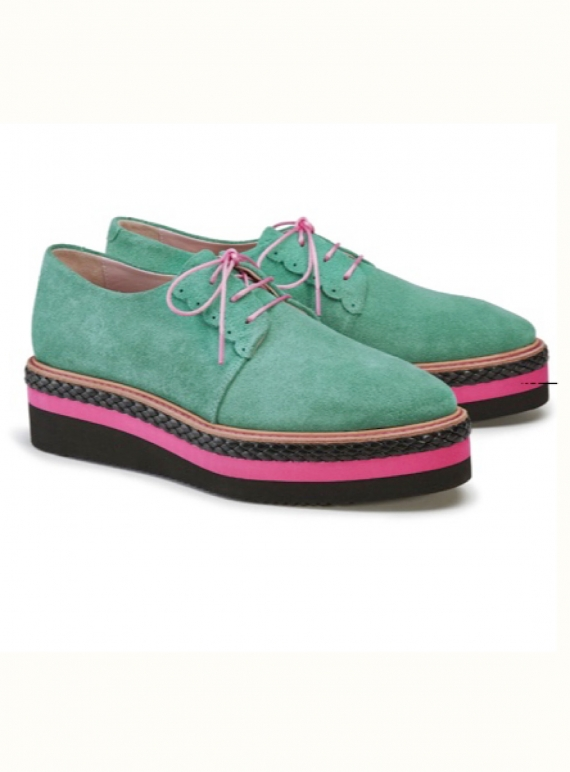 Young British Designers: SKY HIGH BROGUES. Green Suede by Rogue Matilda